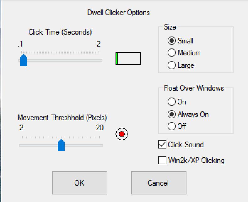Rzut ekranu - okno - Dwell Clicker - opcje
