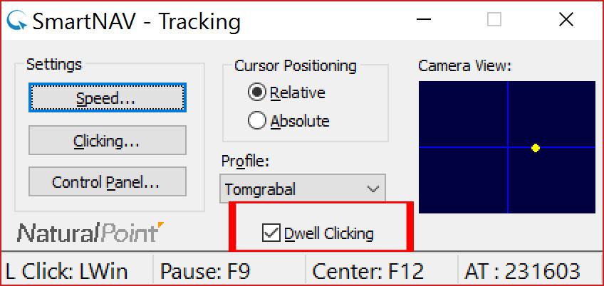 """Rzut ekranu - okno NaturalPoint - Panel szybkiego dostępu z czerwoną ramką wokół opcji """"Dwell Clicking"""""""