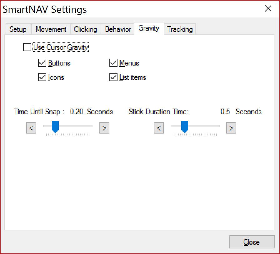 Rzut ekranu - okno SmartNav - Zakładka grawitacji