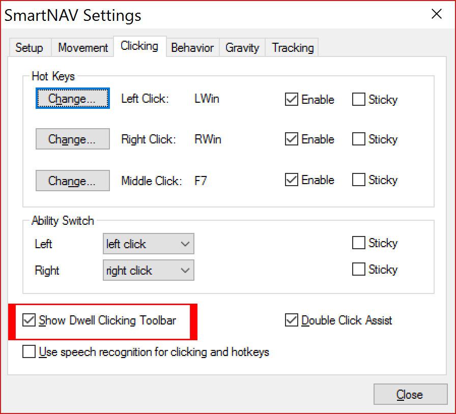 """SmartNav - Zakładka klikania z czerwoną ramką wokół opcji """"Show Dwell Clicking Toolbar"""""""