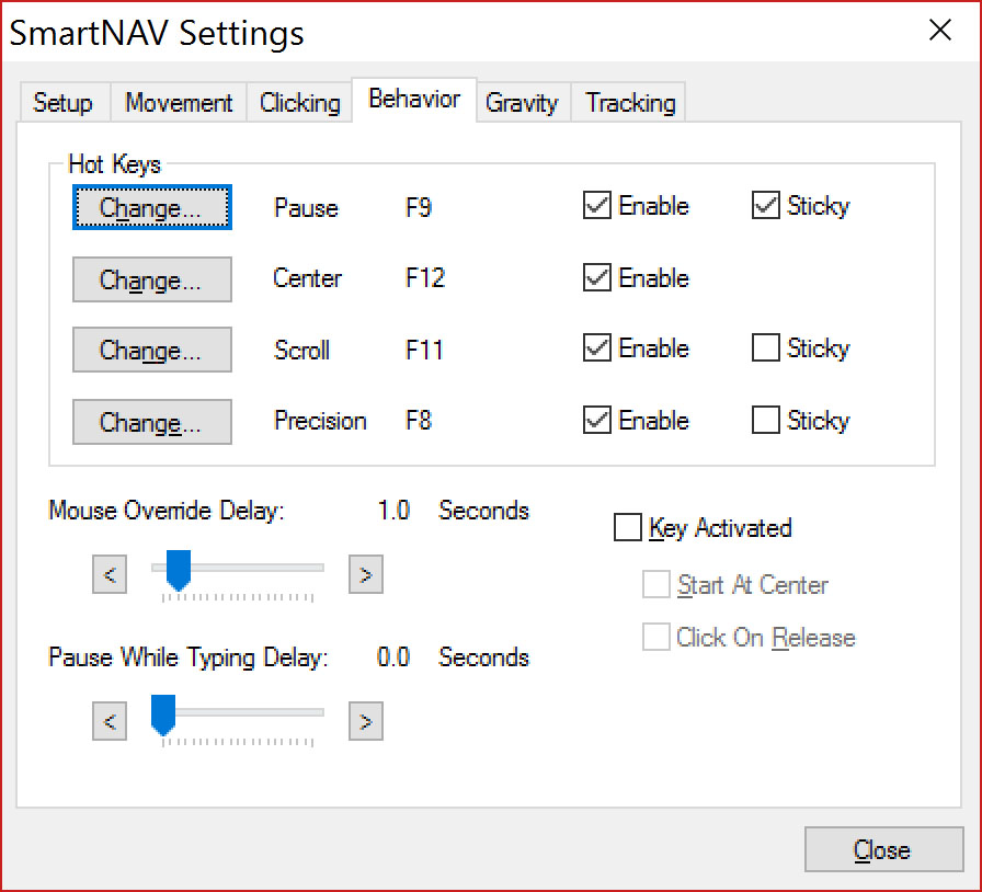Rzut ekranu - okno Smartnav - Zakładka zachowania