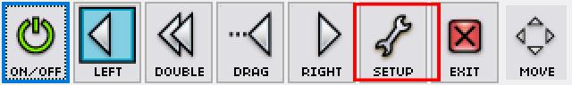 Rzut ekranu - Toolbar - Dwell Clicking - pasek, który posiada wszystkie funkcje klawiszy myszy z czerwoną ramką wokół przycisku; ustawienia (Setup)