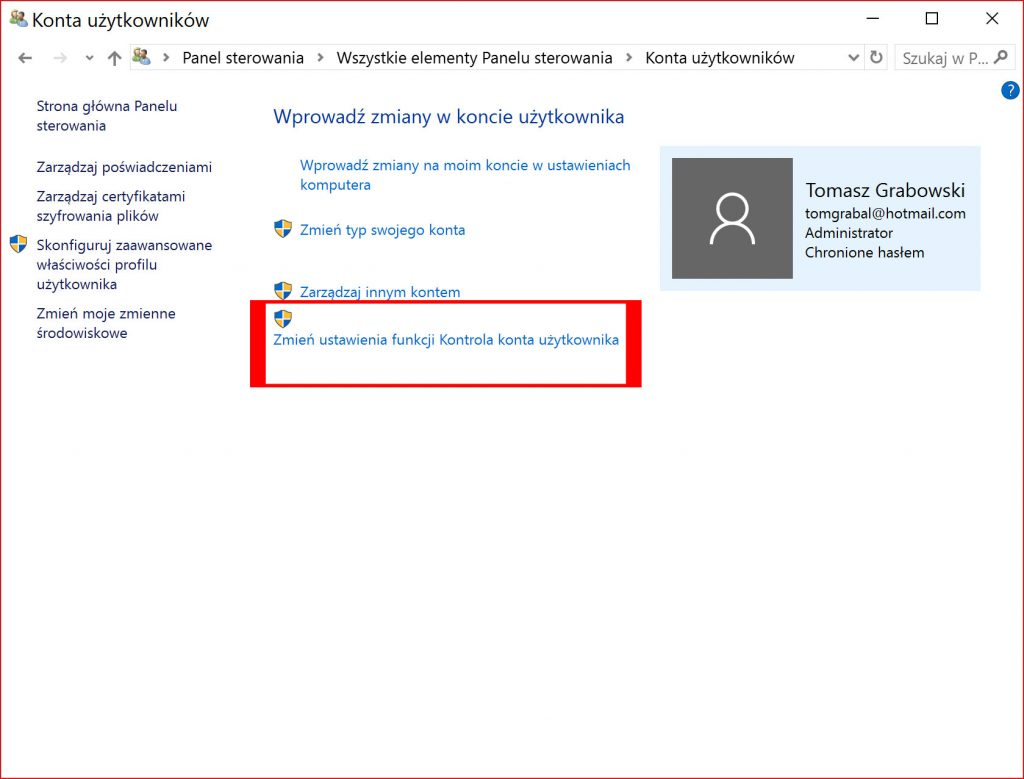 Rzut ekranu – konta użytkowników