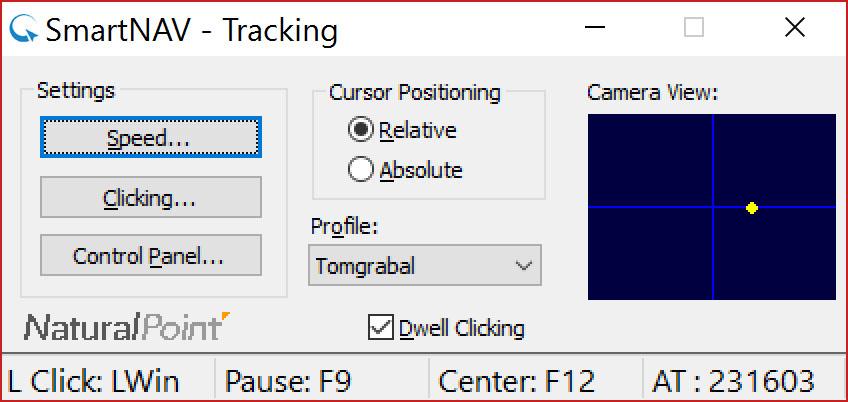 Rzut ekranu - okno SmartNav - Panel szybkiego dostępu
