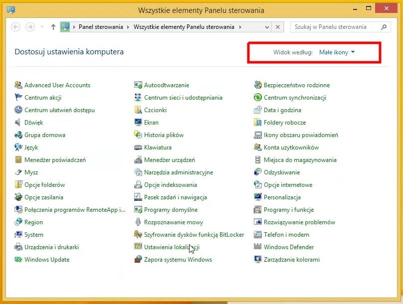 Rzut ekranu - Panel sterowania Windows – przełączanie widoku